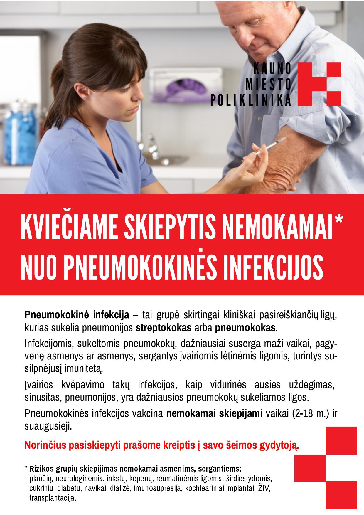Kviečiame skiepytis nemokamai nuo pneumokokinės infekcijos